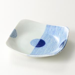 四八角皿 藍丸紋